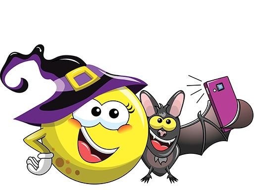 Image of Halloween smiley face and bat cartoons taking a selfie