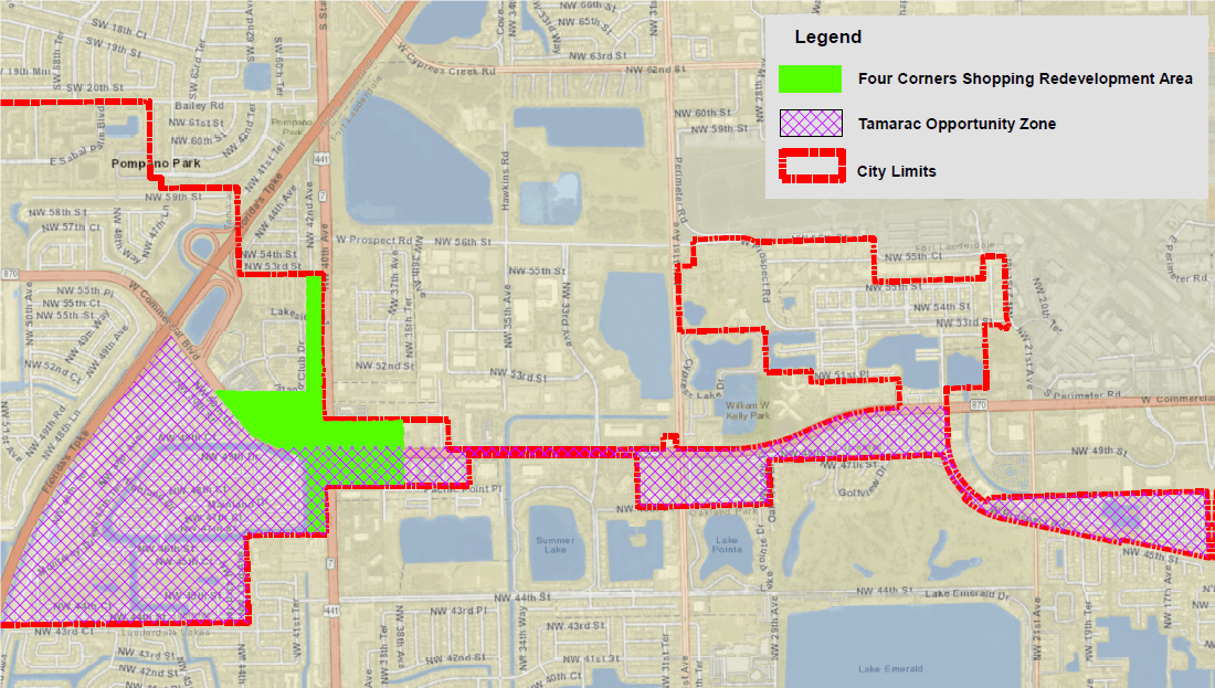 Map showing the city limits of the City of Tamarac, the location of  Opportunity Zones in the City a