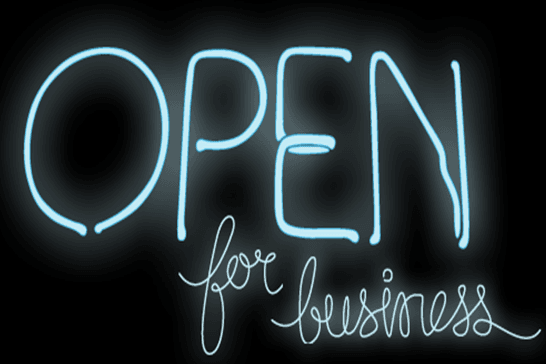 Neon Sign that Says Open for Business